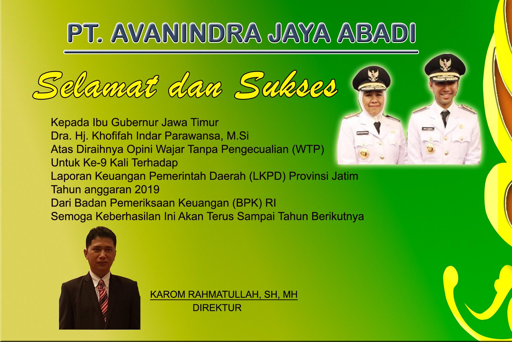 Ucapan Selamat Kepada Gubernur Jawa Timur